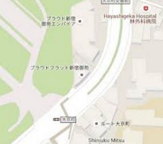 プラウドフラット新宿御苑の地図